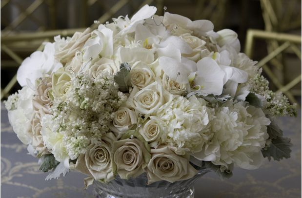 white wedding decor ideas. All White Centerpiece